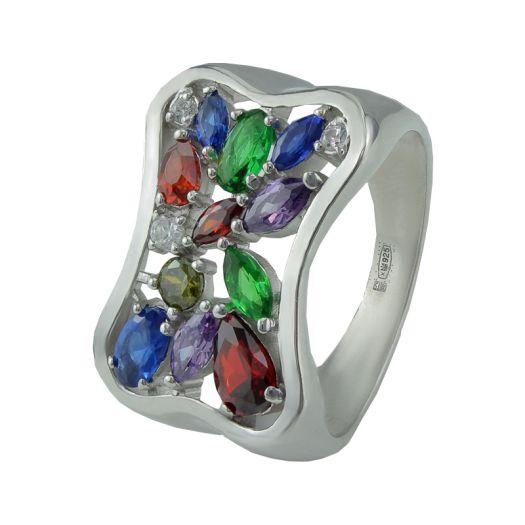 Срібна каблучка з різнокольоровим камінням Персія