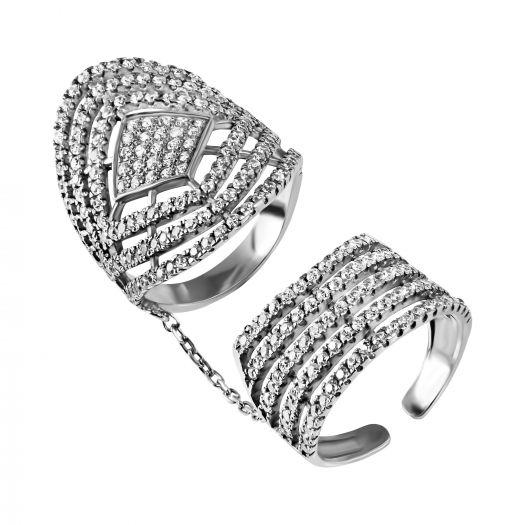 Серебряное  кольцо фаланговое с камнями Виола