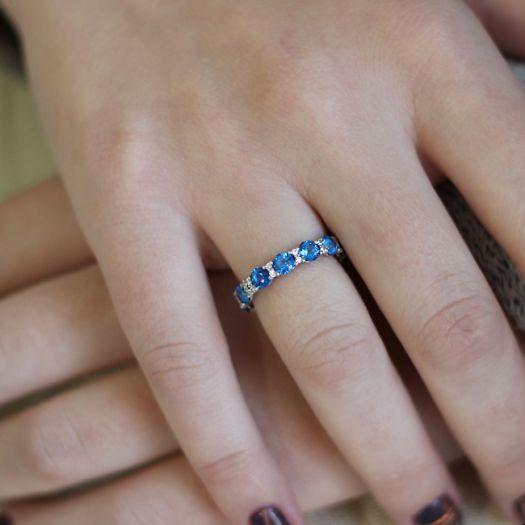 Срібна каблучка з синіми топазами Swarovski Віночок щастя