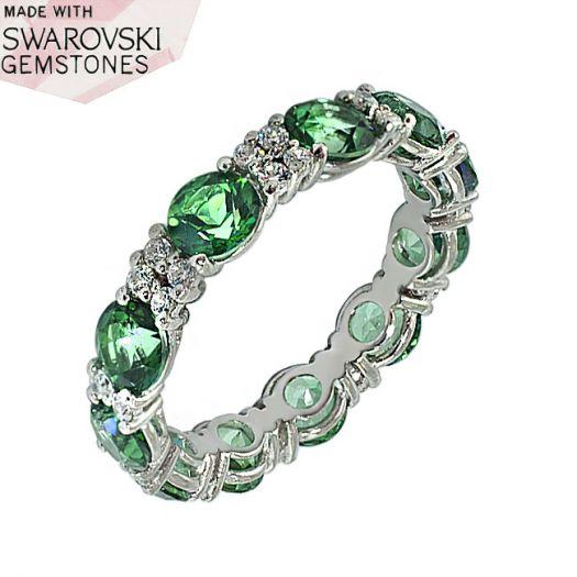 Срібна каблучка з зеленими топазами Swarovski Віночок щастя