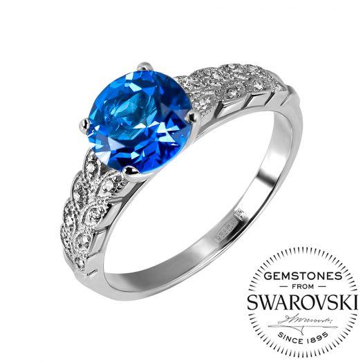 Серебряное кольцо с синим топазом Swarovski Астория