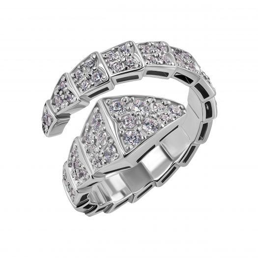 Серебряное кольцо Змея незамкнутое
