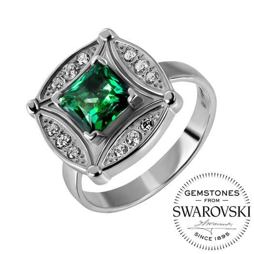 Серебряное кольцо с зеленым топазом Swarovski Фелисия