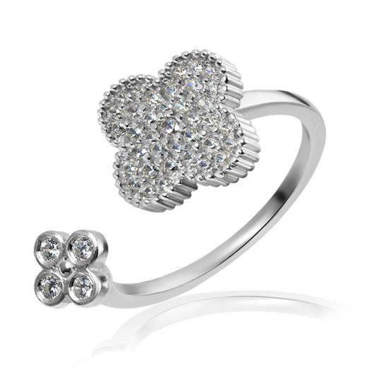 Серебряное кольцо с белым цирконием Клевер