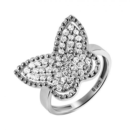 Серебряное кольцо с камнями Махаон