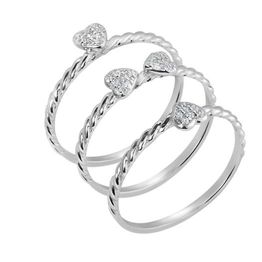 Серебряное кольцо тройное Клевер