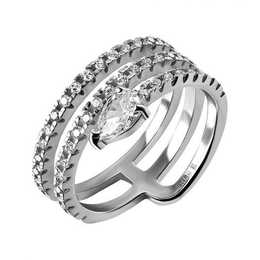 Срібна каблучка з білим цирконієм Змія