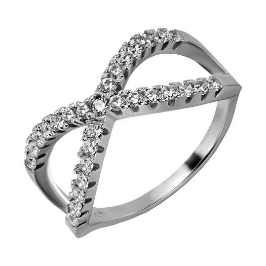 Срібна каблучка нескінченності з камінням Агнія