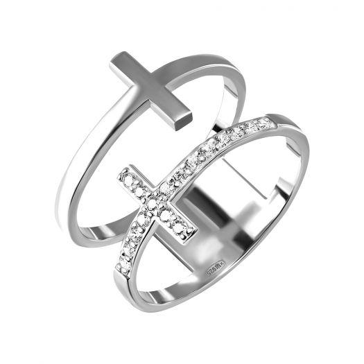 Срібна каблучка подвійна з хрестиками Ксенія