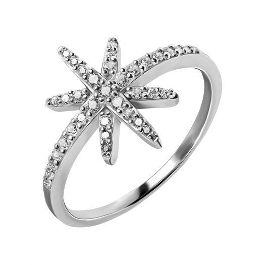 Срібна каблучка Сніжинка