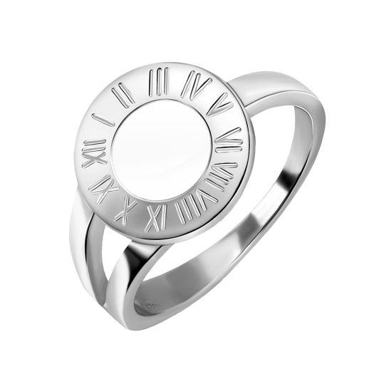 Серебряное кольцо с белой эмалью Часики