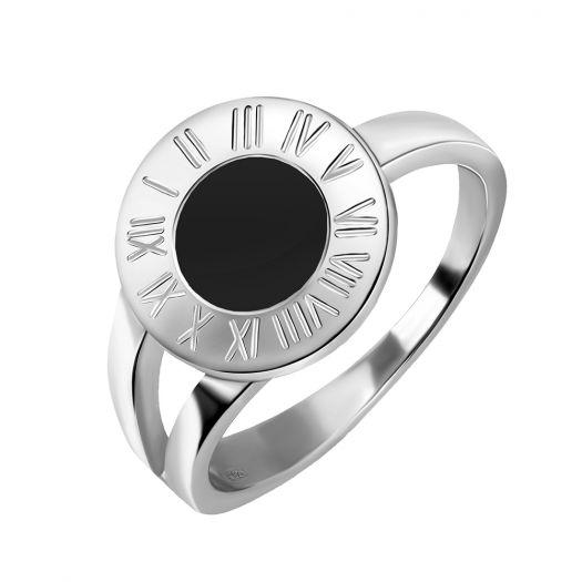 Срібна каблучка з чорною емаллю Годинник