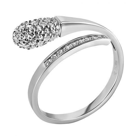 Серебряное кольцо с белыми камнями Спичка