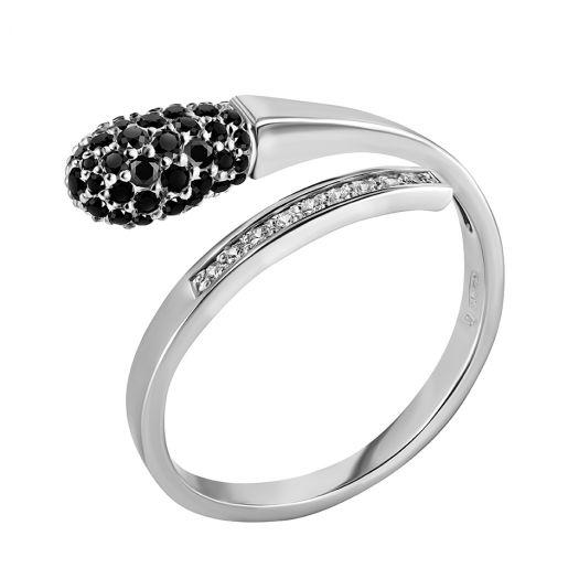 Серебряное кольцо с черными камнями Спичка