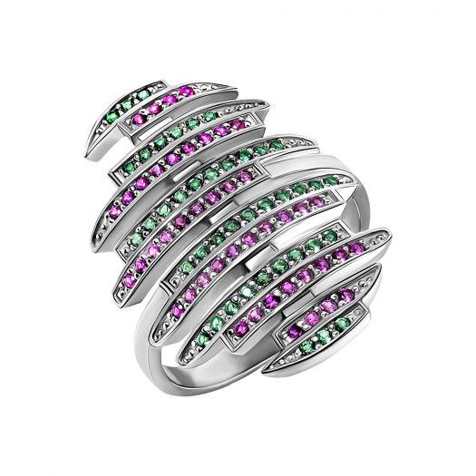 Срібна каблучка з кольоровим камінням Амбре