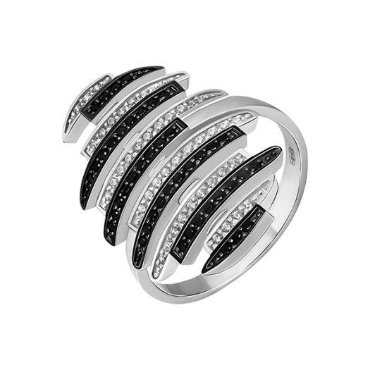 Срібна каблучка з чорно-білим камінням Амбре