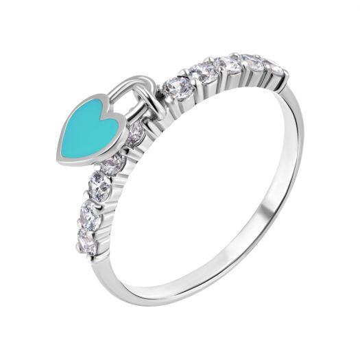 Серебряное кольцо с бирюзовой эмалью Нежное сердце