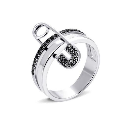 Серебряное кольцо с черными камнями Булавка