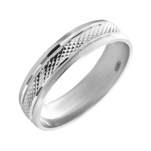 Серебряное обручальное кольцо Классика с огранкой