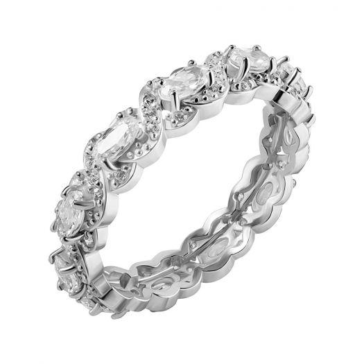 Серебряное кольцо с белыми камнями Изида