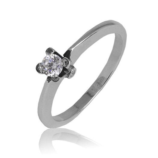 Серебряное кольцо с камнем для помолвки Памелла