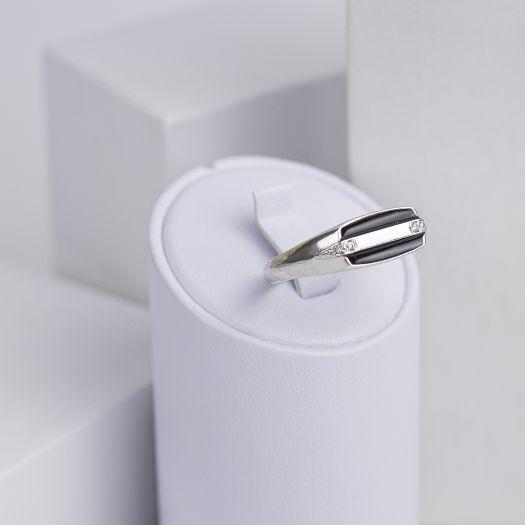 Срібний перстень чоловічий з емаллю Музикант