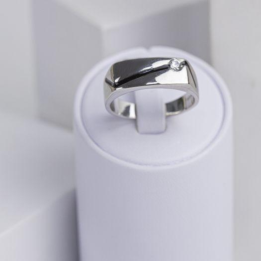 Срібний перстень чоловічий з емаллю Прихильність