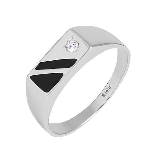 Серебряный перстень с эмалью Лидер