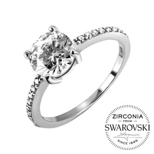 Серебряное кольцо с камнями Swarovski Элизабет