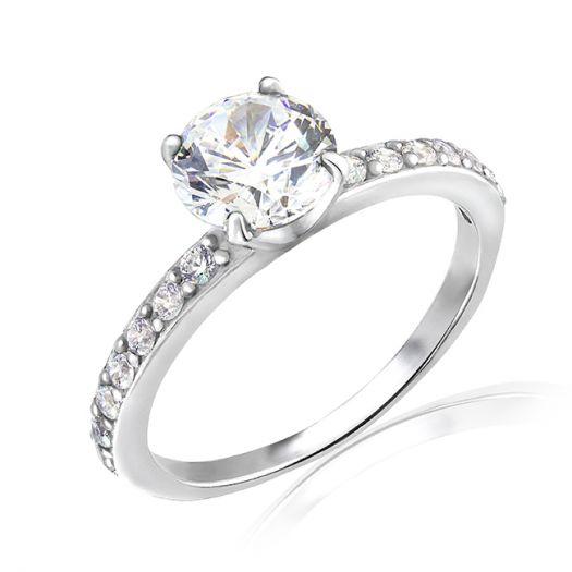 Серебряное кольцо для помолвки Виктория