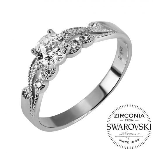 Серебряное кольцо с камнями Swarovski Роксана