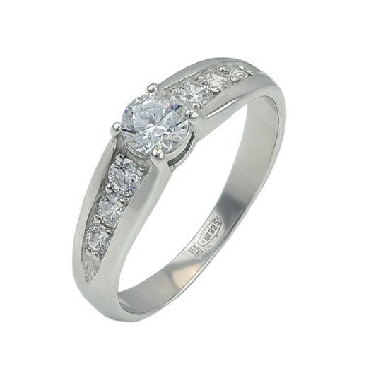 Серебряное кольцо с камнями Swarovski Халлари