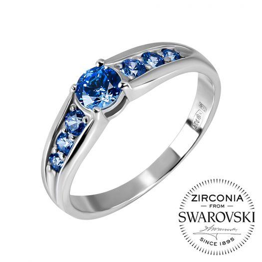 Срібна каблучка з синім камінням Swarovski Халларі