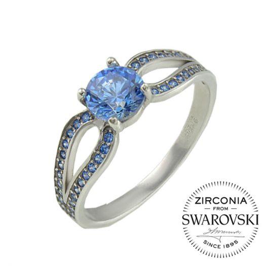 Срібна каблучка з синім камінням Swarovski Катріна