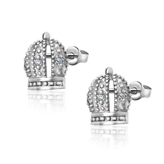 Срібні сережки пусетні Царська корона