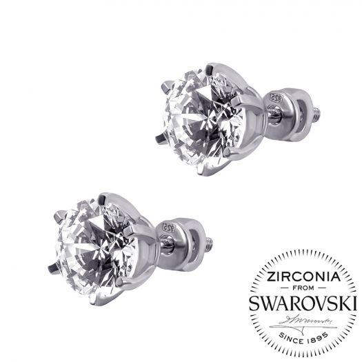 Серебряные серьги пусетные с камнями Swarovski Идилия