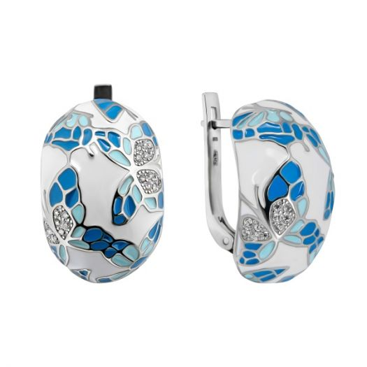 Серебряные серьги с голубой эмалью Летнее настроение