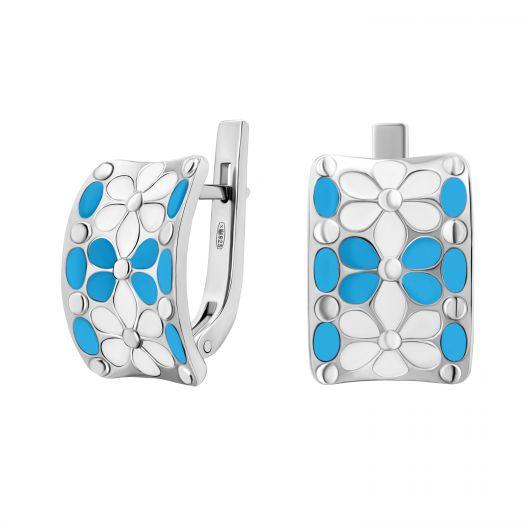 Срібні сережки з блакитною емаллю Букет ромашок