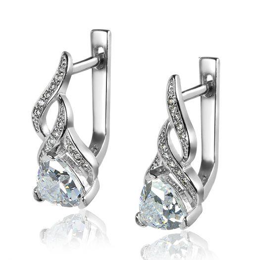 Срібні сережки з камінням Стихія