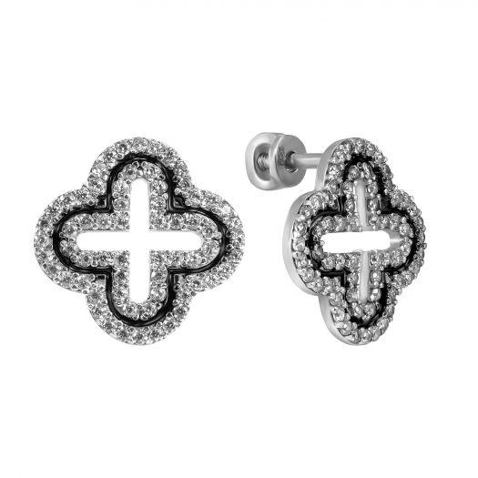 Срібні сережки з емаллю та білим камінням Чотирили