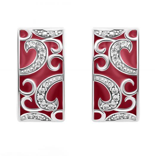 Серебряные серьги с бордовой эмалью Синтия