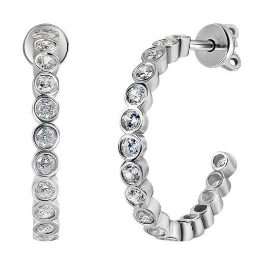 Срібні сережки пусетні з камінням Атмосфера