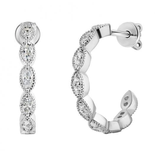 Срібні сережки пусети з камінням Квіта