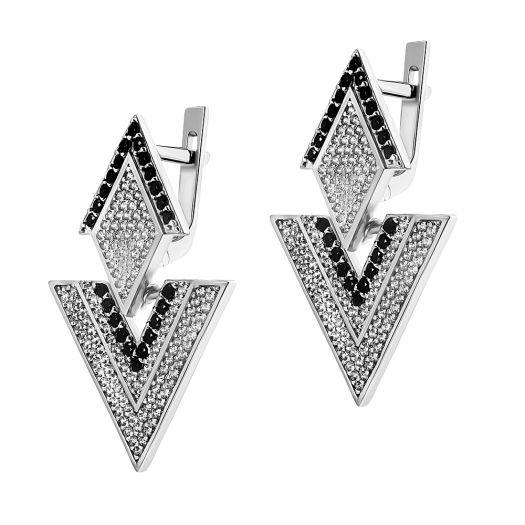 Срібні сережки з каменями Орігамі