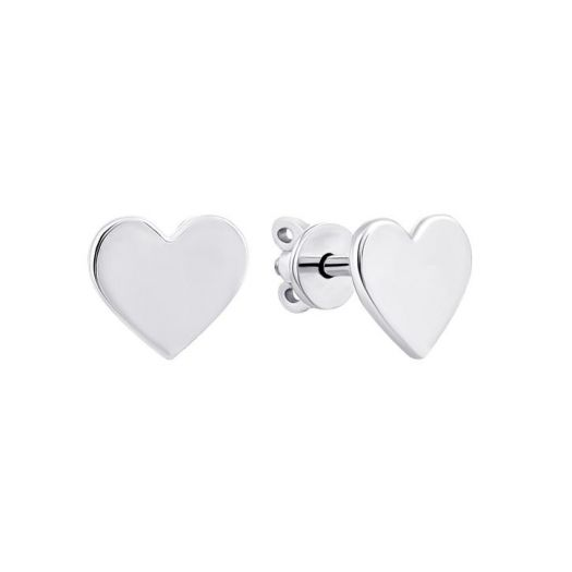 Серебряные серьги без вставок Сердечки