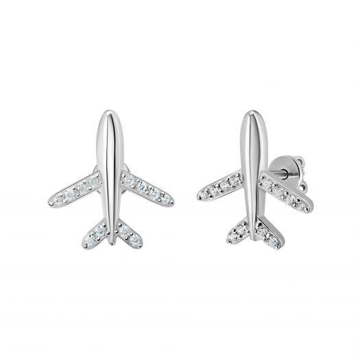 Серебряные серьги пусетные Самолетики