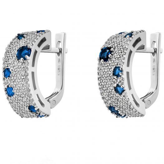 Ссрібні сережки з синім камінням Аква