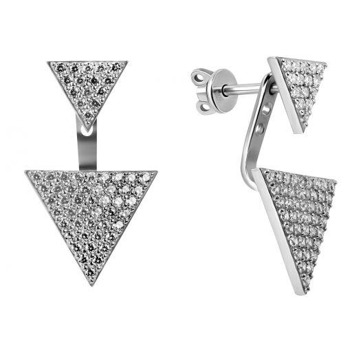Серебряные серьги-джекеты Фитиния
