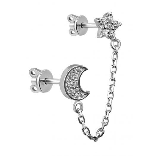 Серебряная серьга двойная Лилит