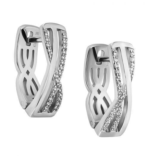 Срібні сережки з камінням Мана